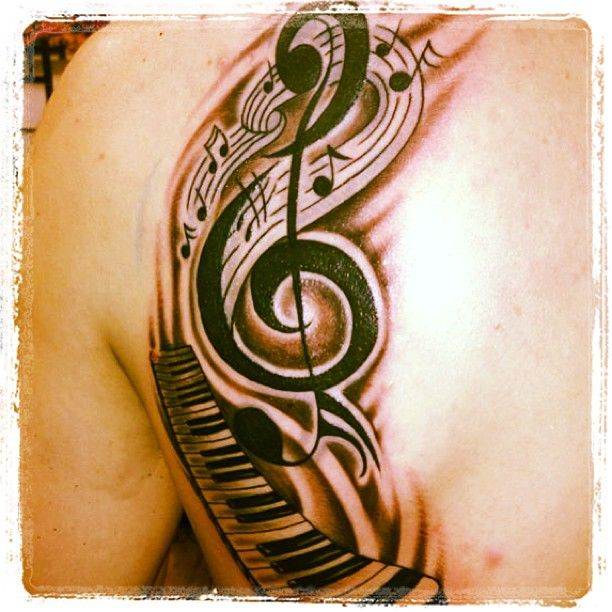 Music Notes And Piano Keys Tattoo Design For Back