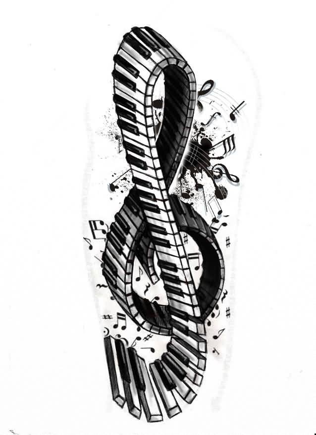 Music Notes Awesome Piano Keys Tattoo Stencil