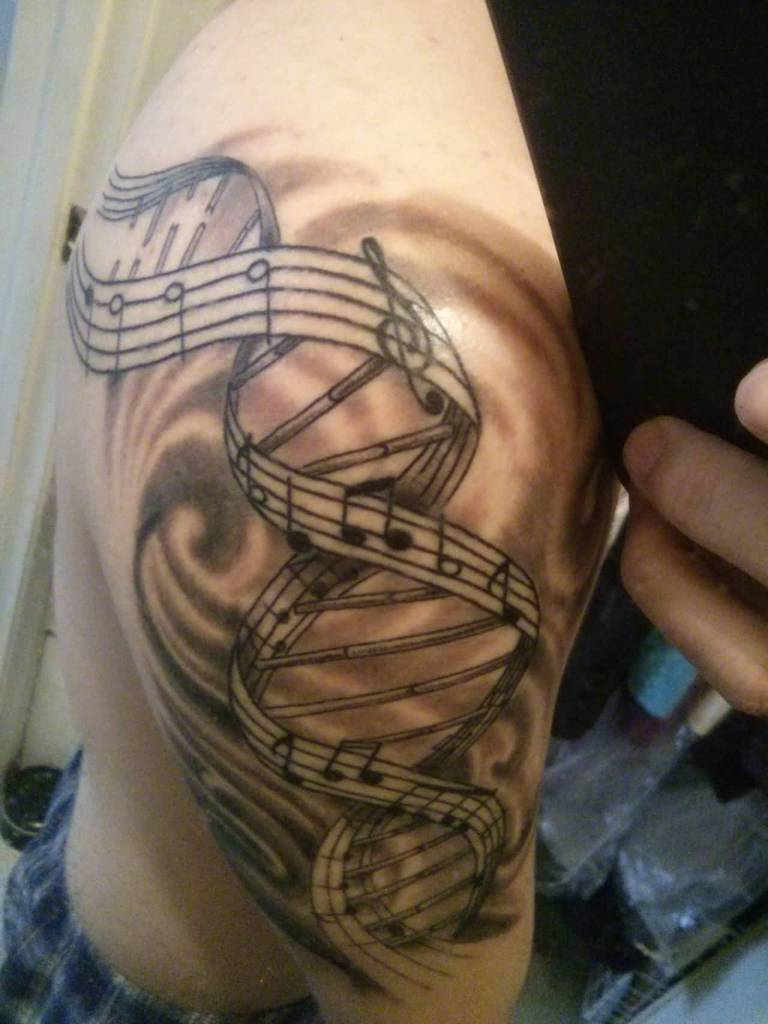 Music Notes Nice Half Sleeve Nice Science DNA Tattoo