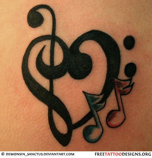 Music Notes Nice Love Heart Symbol Tattoo