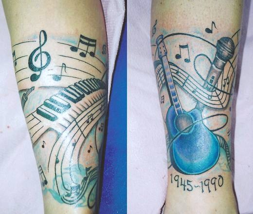 Music Notes Nice Piano Keys And Guitar Tattoo