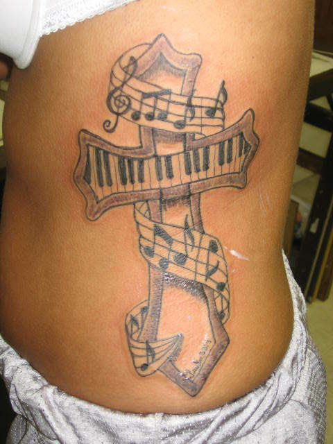 Music Notes Nice Piano Keys Cross Tattoo