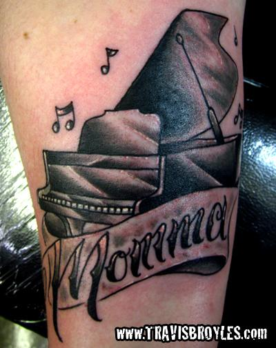 Music Notes With Awesome Grand Piano Tattoo Design With Momma Banner