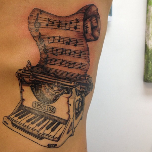 Music Notes With Nice Old Trend Piano Keys Tattoo