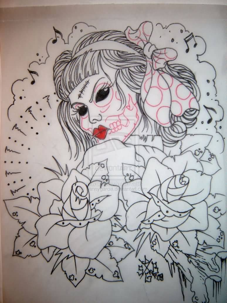 Music Notes With Zombie Red Lips Pin Up Girl Tattoo With Nice Roses
