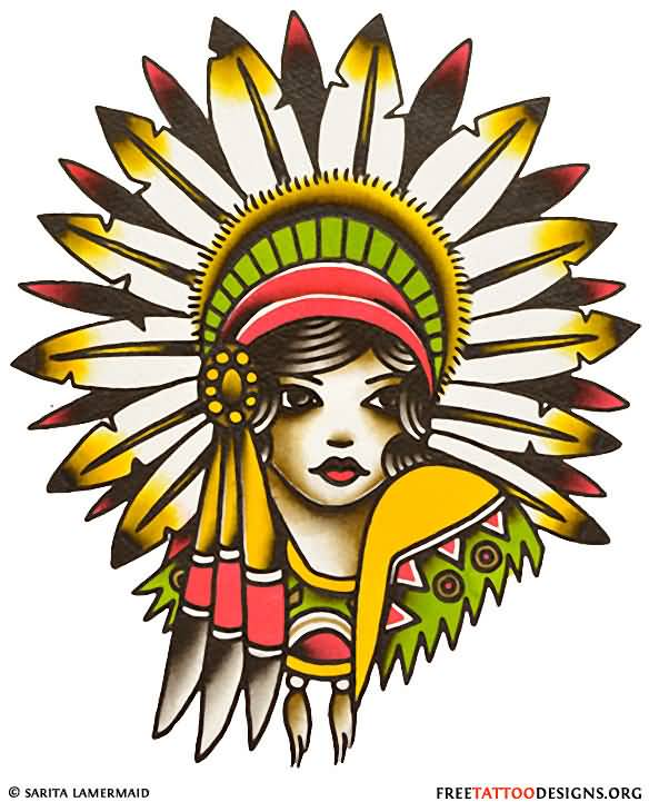 Native American Pin Up Girl Face Tattoo Drawing Design