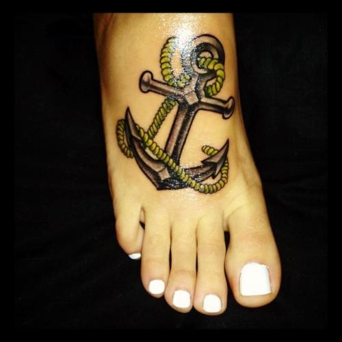 Navy Anchor With Rope Tattoo On Foot