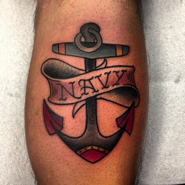 Navy Banner Nice Anchor Tattoo