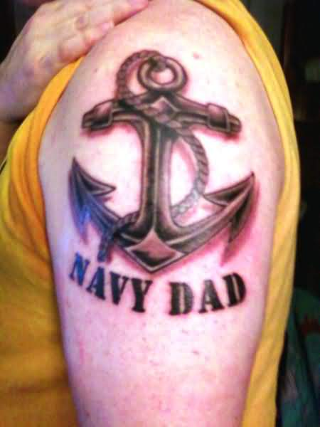 Navy Dad Anchor Tattoo Design On Shoulder