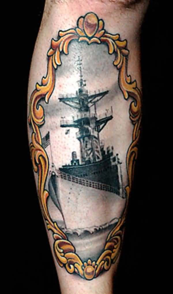 Navy Ship On Golden Old Mirrior View Tattoo