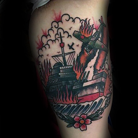 Navy Ship With Damage And Flaming Chopper Tattoo
