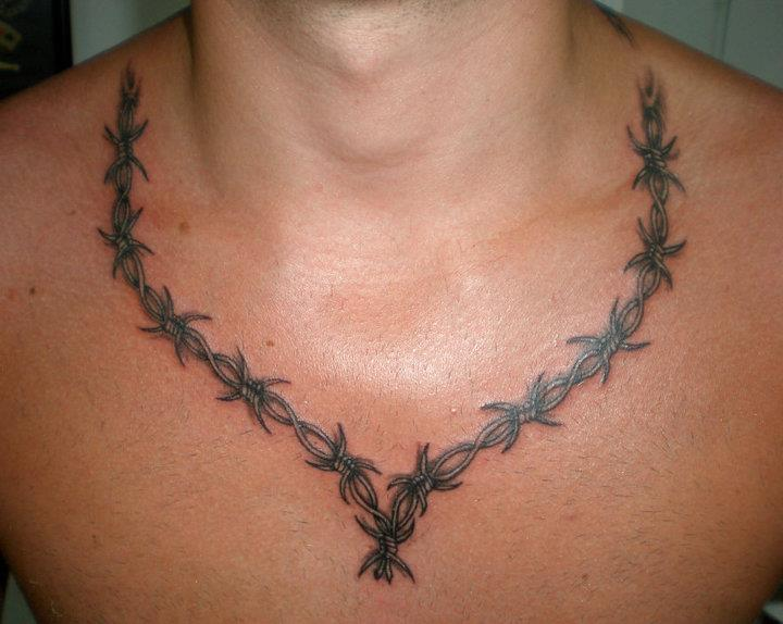 Necklace Style Nice Barbwire Amazing Tattoo Design Idea