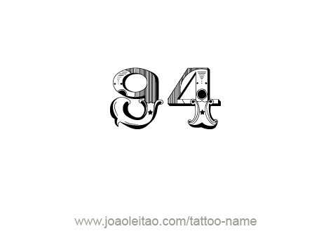 New Style Ninety Four Number Tattoo Stencil