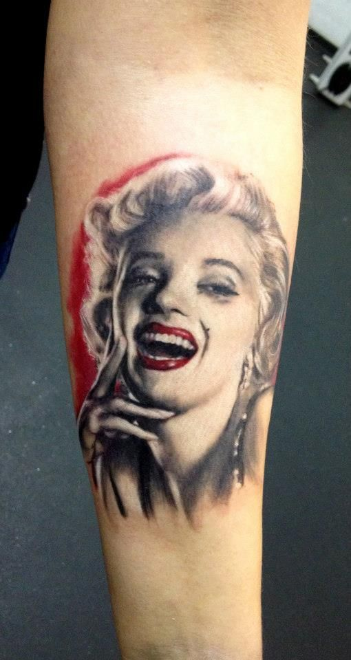 Nice Amazing Marilyn Monroe Portrait Girl Smiling Pose Face Tattoo On Forearm