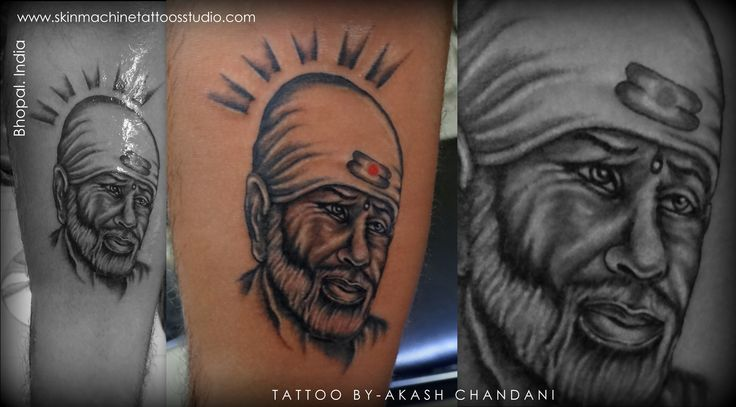 Nice Amazing Sai Baba Face Awesome Tattoo