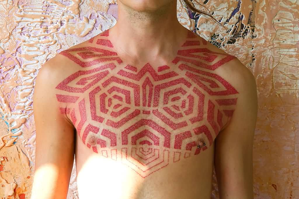 Nice Amazing Scarification Cubes Tattoo On Men Chest