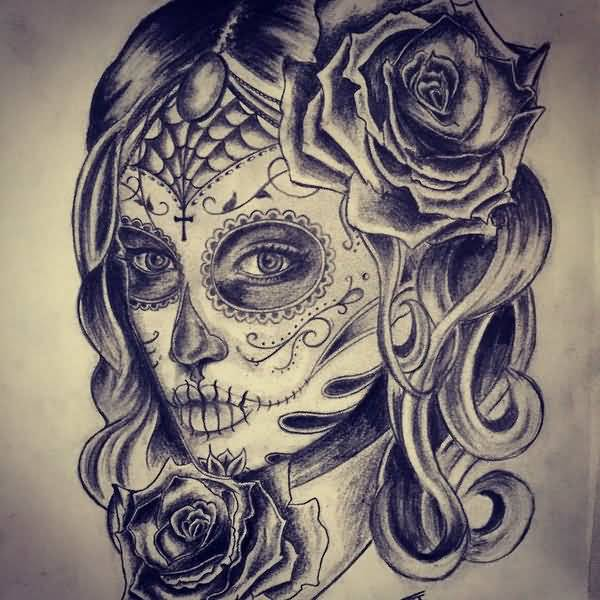 Nice And Amazing Catrina Girl Face Tattoo Stencil