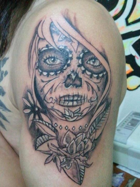 Nice And Amazing Catrina Tattoo On Half Sleeve