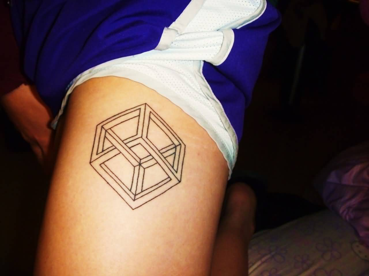 Nice And Amazing Escher Cube Tattoo