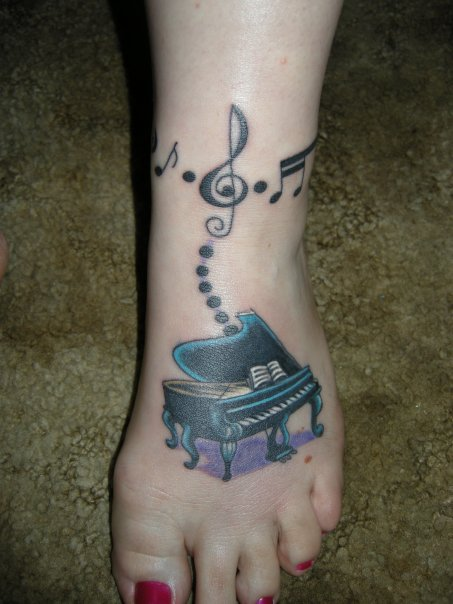Nice And Amazing Grand Piano Foot Tattoo Design Idea