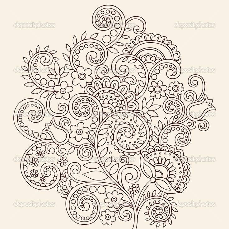Nice And Amazing Great Paisley Pattern Tattoo Design