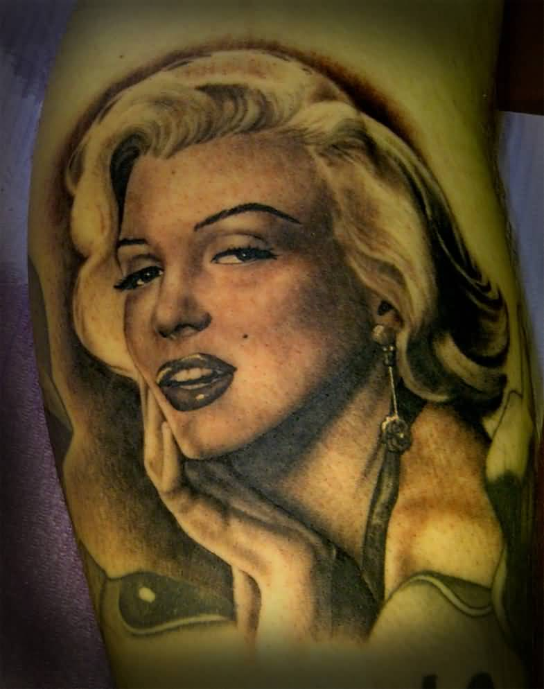 Nice And Amazing Marilyn Monroe Face Tattoo