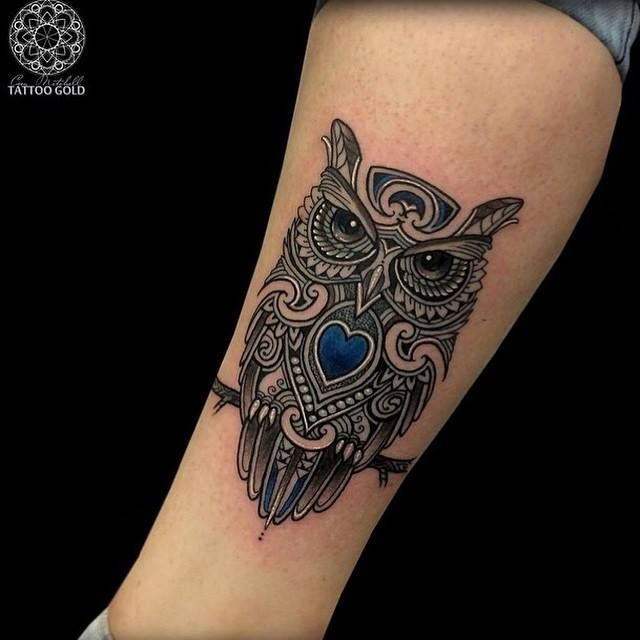 Nice And Amazing Mosaic Owl Tattoo Design