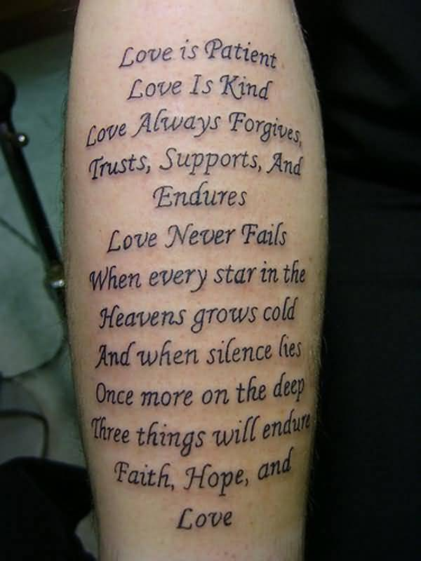 Nice And Amazing Poem Letters Tattoo Design Idea Make On Lower Sleeve