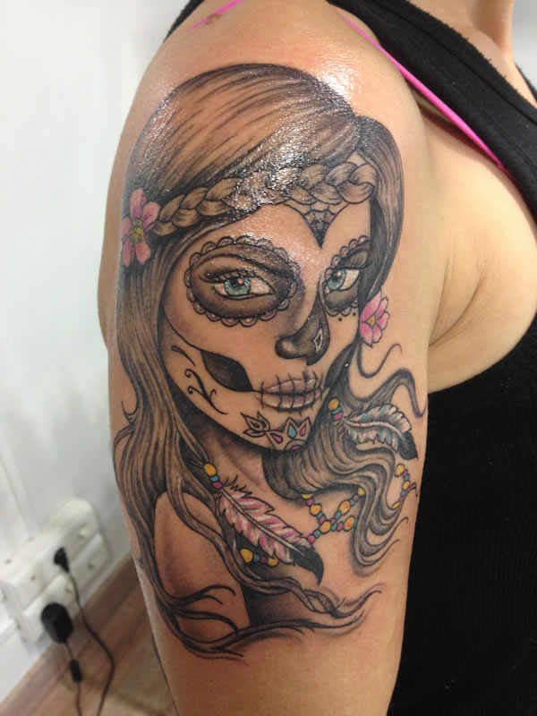 Nice And Amazing Upper Sleeve Nice Catrina Tattoo Of Girl Face