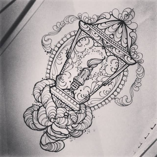 Nice And Amazing Victorian Lantern Tattoo Design Stencil