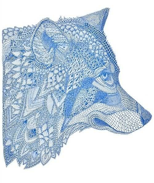 Nice And Awesome Mosaic Wolf Head Tattoo