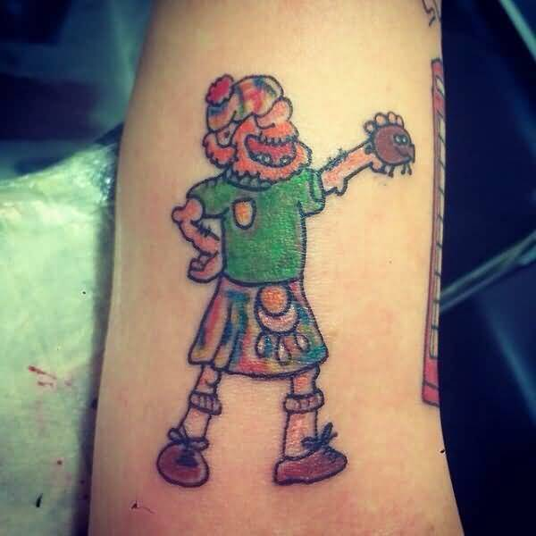 Nice And Funnny Scottish Cartoon Man Tattoo