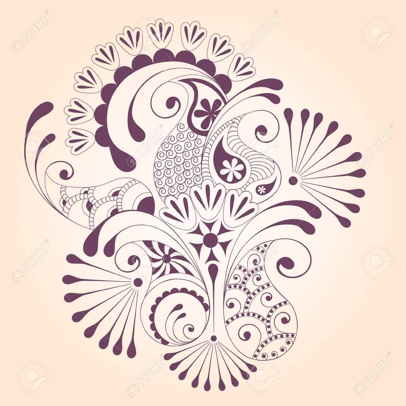 Nice And Great Paisley Pattern Tattoo Stencil