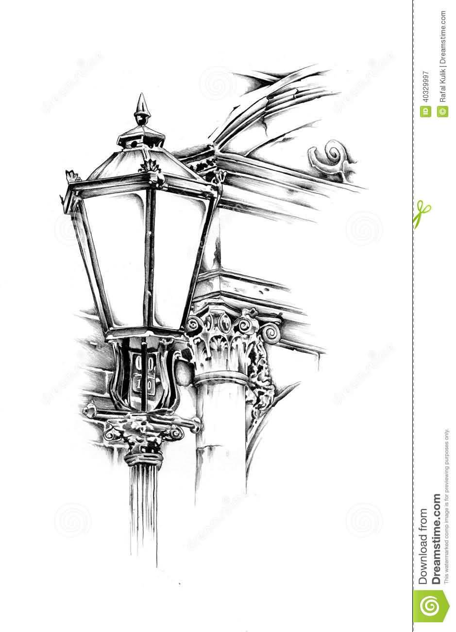 Nice And Simple Antique Lantern Tattoo Design Stencil