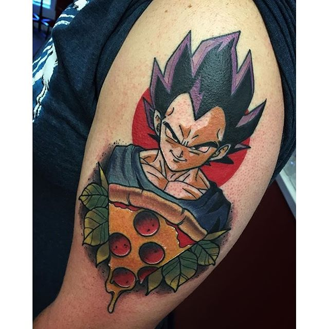 Nice Angry Cartoon Pizza Tattoo
