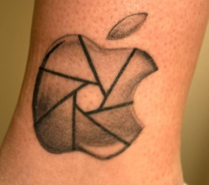 Nice Apple Logo Tattoo Of Iphone Camera
