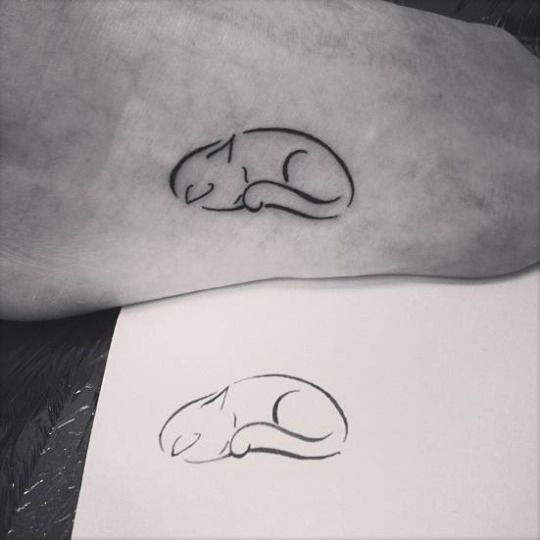 Nice Baby Scarification Cat Tattoo Idea