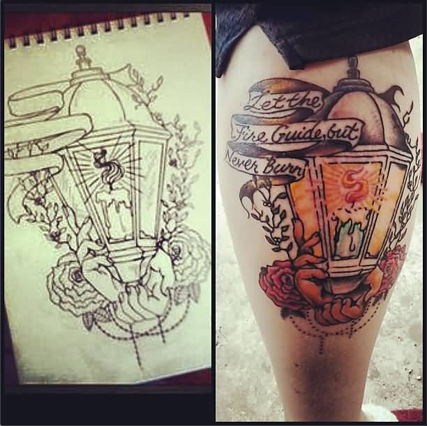Nice Banner Amazing Lantern Tattoo Design Idea On Leg