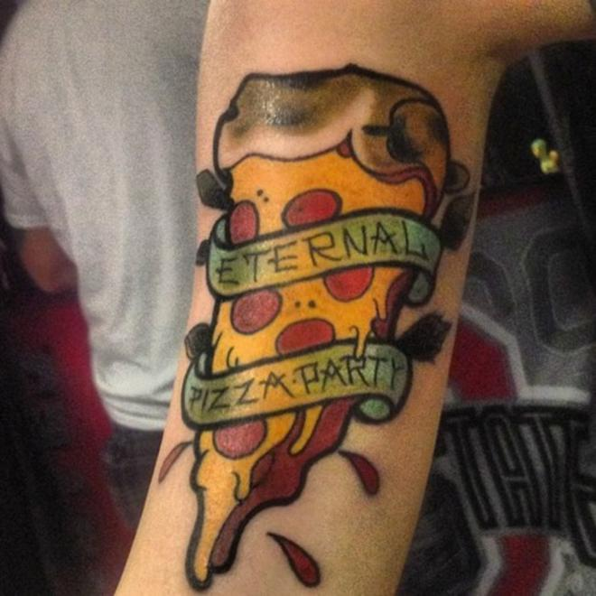 Nice Banner Amazing Pizza Tattoo On Leg