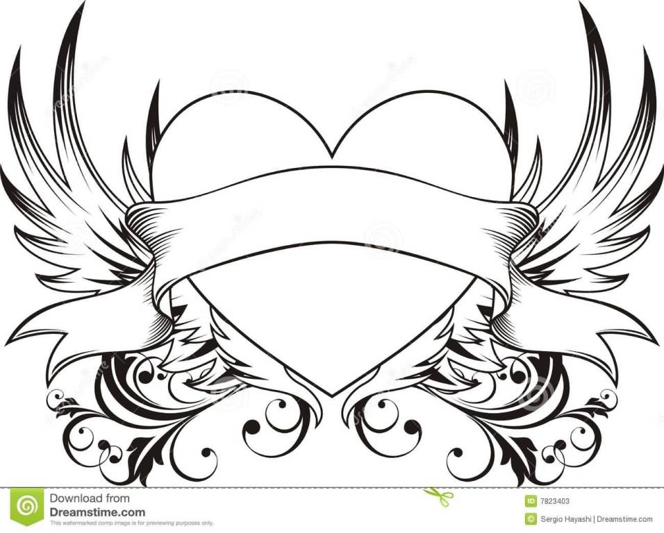 Nice Banner Angel Wings Love Tattoo Stencil