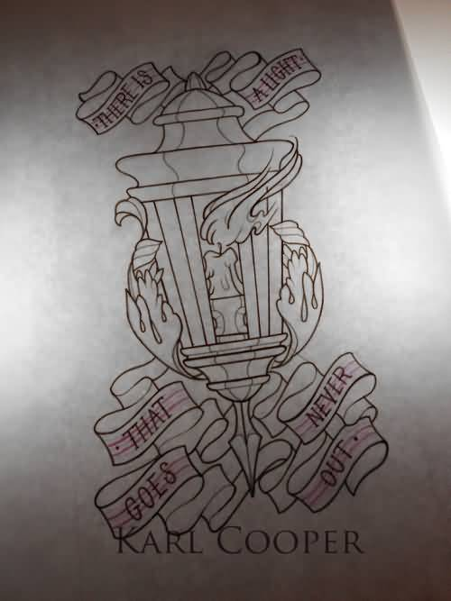 Nice Banner Lantern Tattoo Design