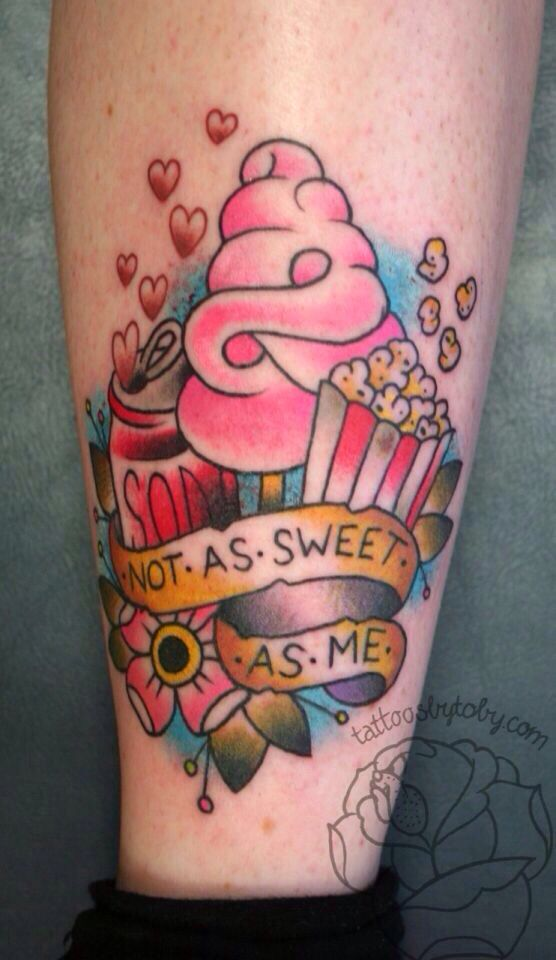 Nice Banner Simple Ice Cream Tattoo