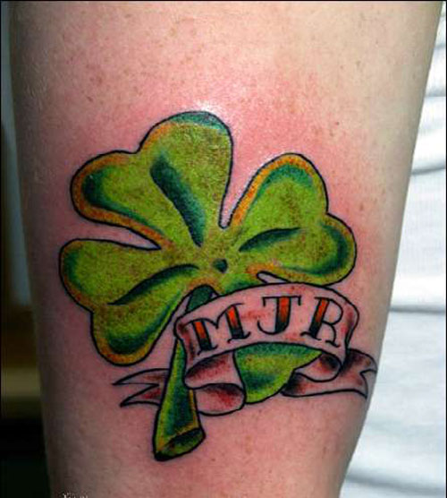 Nice Banner With Amazing Heart Shamrock Tattoo
