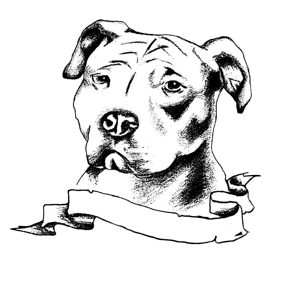 Nice Banner With Amazing Pitbull Dog Face Tattoo Design Idea