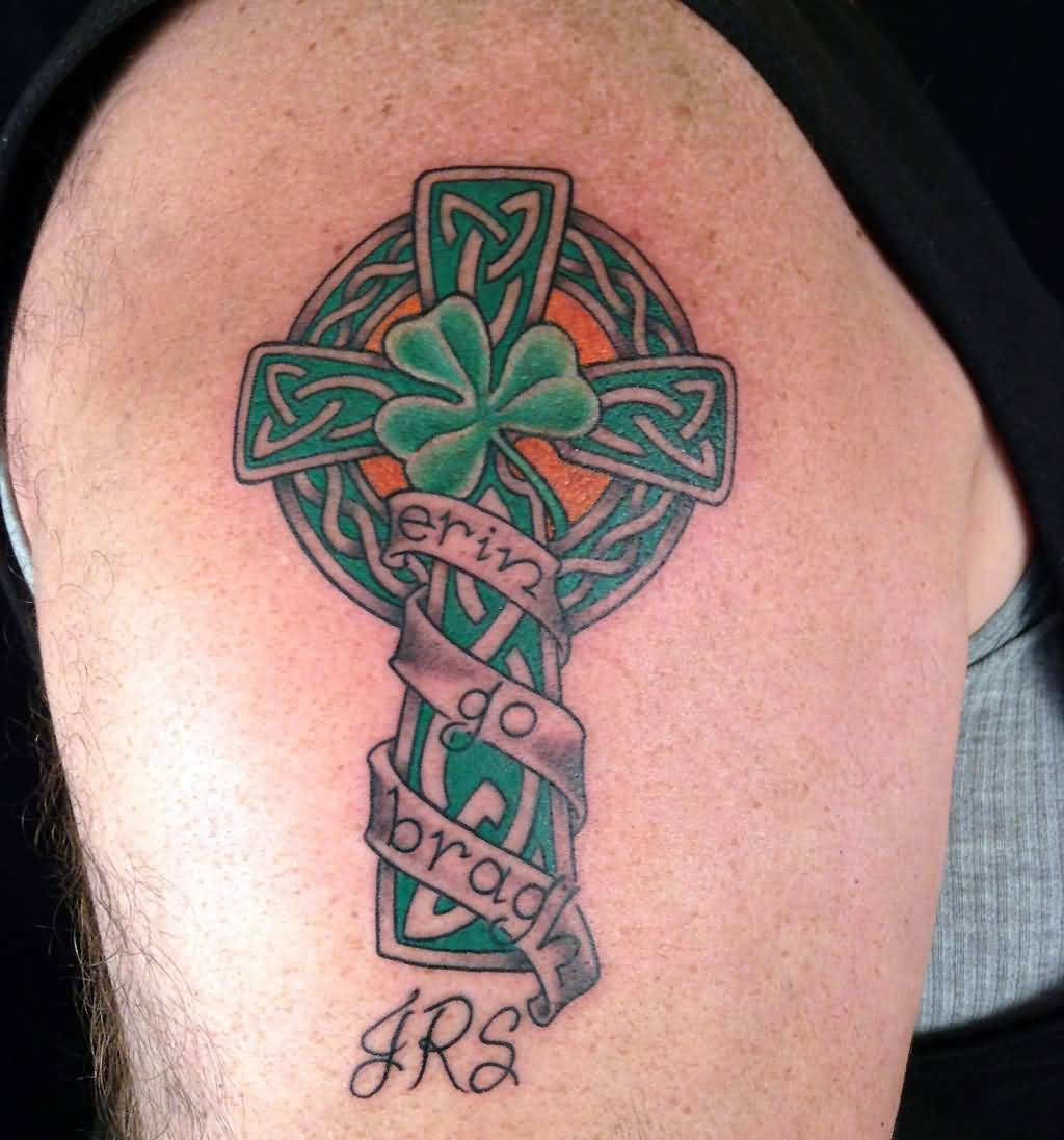 Nice Banner With Celtic Shamrock Banner Tattoo With Cross