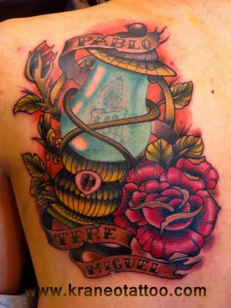 Nice Banner With Nice Red Roses Old School Lamp Tattoo
