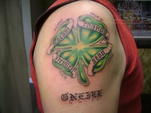 Nice Banners With Men Shoulder Green Shamrock Tattoo