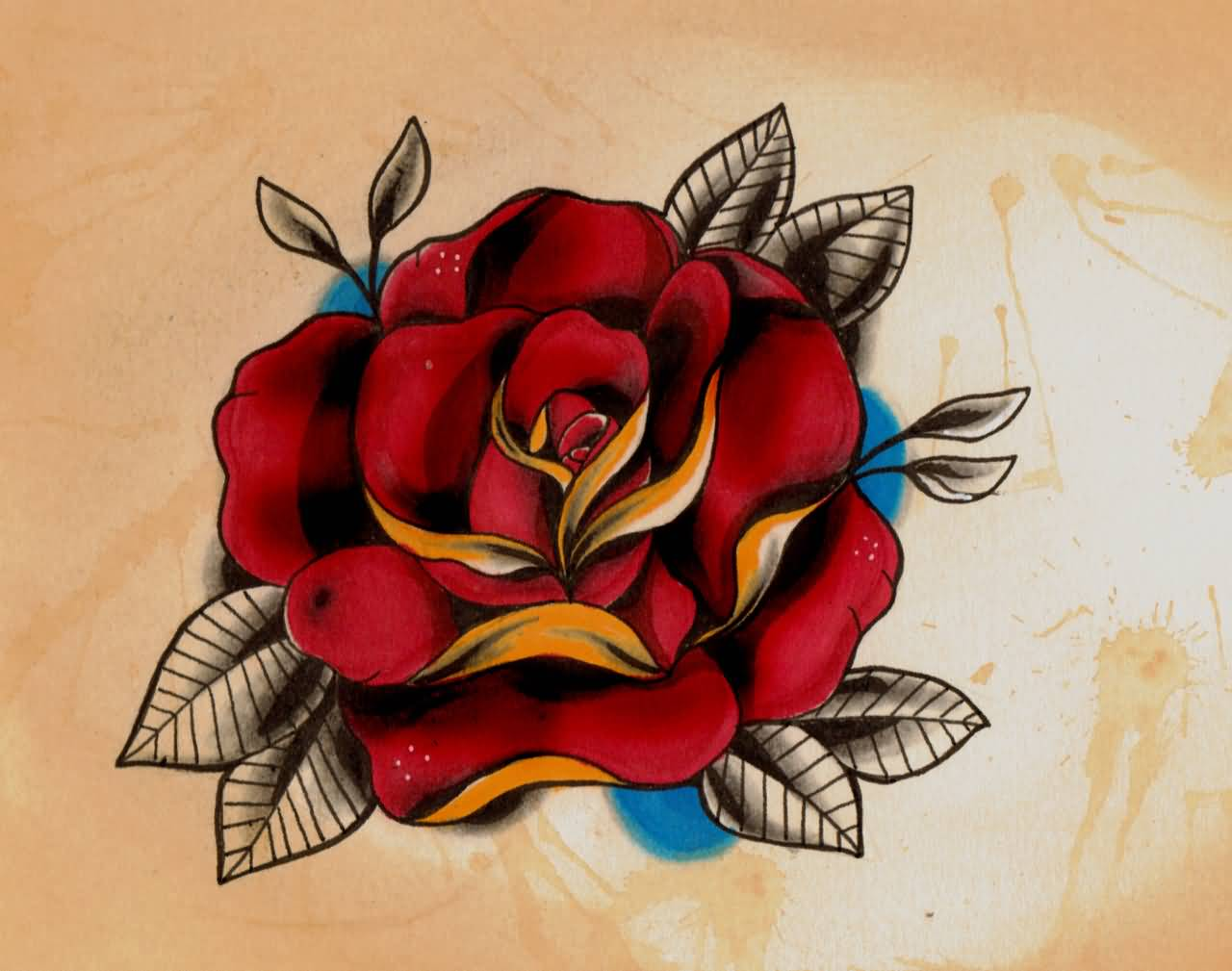 Nice Best Ever Real Look Old School Red Rose Tattoo