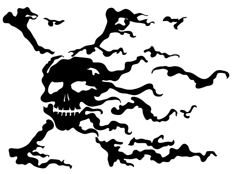 Nice Black Ink Amazing Jolly Roger Tattoo Idea