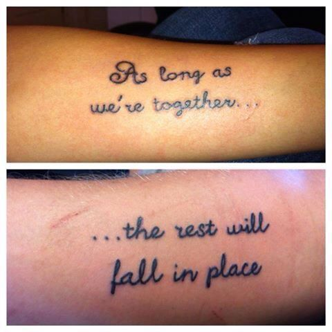 Nice Black Ink Love Quote Tattoo